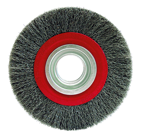 CRIMPED STEEL WIRE CIRCULAR BRUSH FOR BENCH GRINDER