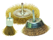 SET OF 3 CRIMPED BRASS WIRE BRUSHES